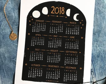 2018 Moon Phases Year Calendar