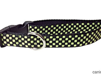 Dog Collar, Green Checked, 1 inch wide, adjustable, quick release, metal buckle, chain, martingale, hybrid, nylon