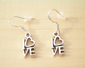 Love Earrings, Silver Word Earrings, Charm Earrings, Jewelry Findings