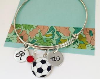 Soccer Bracelet, Soccer Bangle Bracelet, Personalized Soccer  Bracelet, Soccer Player Gift, Custom Soccer Bracelet