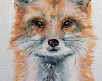 "Fox 12"" x 10"" Original watercolour painting"