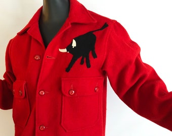 UNISEX Vintage 1950s Raging Bull Jacket 50s 60s Rockabilly Red Wool Pendleton Style Hipster Shirt Coat Official Boy Scouts America SM Medium