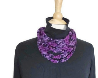 crochet necklace, cowl necklace, crochet infinity scarf necklace, purple necklace, circle scarf, infinity loop scarf, mothers day gift