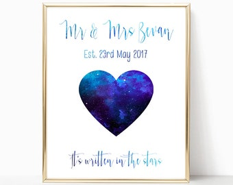 Personalised wedding constellations print - personalised wedding gift - constellations print- engagement gift - zodiac print