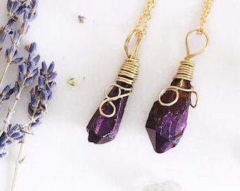 Purple Wire Wrapped Druzy Pendant - Purple Quartz Wire Wrap Necklace - Healing Jewellery - Purple Druzy Pendant - Gold Wrap Geode Necklace