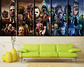 5 Piece Horror Movie Characters Group Painting Frames Home Decor Pictures, Modern Wall Art Printed Landscape Canvas Poster