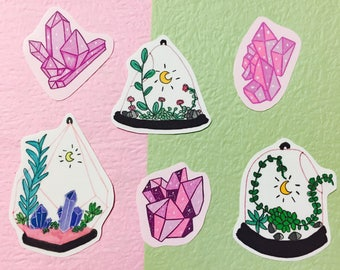 crystal stickers, planner stickers, pastel grunge stickers,airplant terrarium,terrarium, moon stickers, witchy stickers, hobonichi stickers