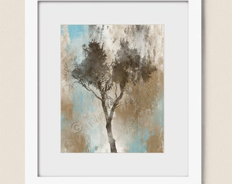 8 x 10 Art Print, Brown and Tan Tree Wall Art, Living Room Wall Art, Tree Wall Decor for Home, Blue and Brown Bathroom Art (454)
