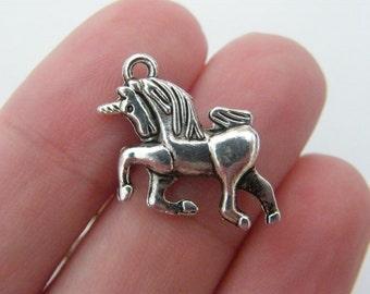 BULK 40 Unicorn Charms antique silver tone A602