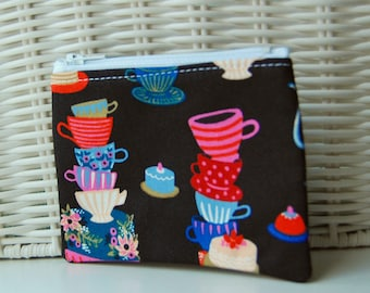 Mad Tea Party zippered bag Handmade black print small zipper pouch wallet change purse rifle paper co zippered bag