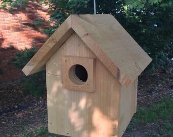 Cedar Birdhouse, Hanging Birdhouse, Handmade Solid Cedar Birdhouse