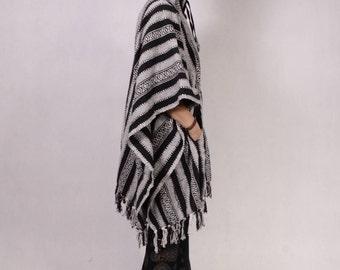 HOODIE PONCHO - Natural Knitted Handloom - Long - Hood - Elf - Shawl - Festival Ponchoo - Cotton Ponchoo - Pixie Ponchoo - Tribal Ponchoo