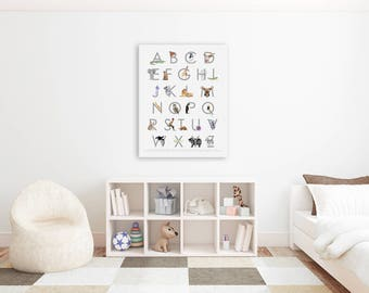 Nursery Alphabet Print - Canvas Nursery Wall Art - Kids Alphabet Art - Kids Canvas Art - Animal Alphabet - Nursery Art - Alphabet Animals