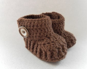 Brown crochet wrap around baby booties, for babies age 0-3 months