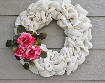White Burlap Wreath with Pink Roses  - Or Customize to your color scheme!