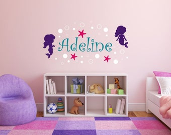 Girl Wall Decal Name - Mermaid Wall Decal with Name - Mermaid Wall Decal Girls Room- Personalized Girls Name Wall Decal - Mermaid Name Decal