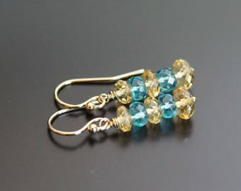 Citrine earrings, apatite earrings, citrine jewelry gift, apatite jewelry, multi gemstone earrings, citrine apatite, gold fill ear wires