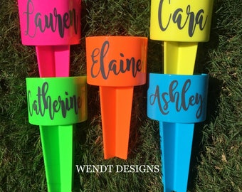 Personalized Beach Cup Holder, Includes Vinyl Name Decal - Beach Spiker - Monogram Decal - Beach Spike - Drink Holder - Sand Spike
