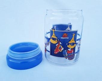 Jar candy ORANGINA illustration GEORGES VILA advertising pot collection rare glass France