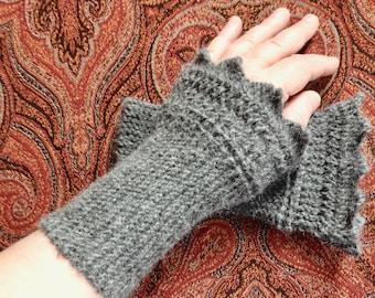 Handknit wristwarmers - alpaca/wool - gray