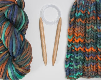 US 19 (15 mm) Circular  Knitting Wooden Needles, 60 cm - 150 cm length of a tube