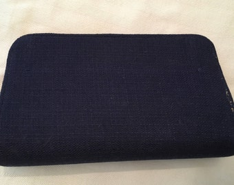 Vintage Navy and Red Fabric Clutch