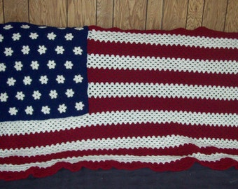 American Flag Afghan Stars And Stripes Made To Order Custom Made Your Choices Of Shade Of Red White Blue