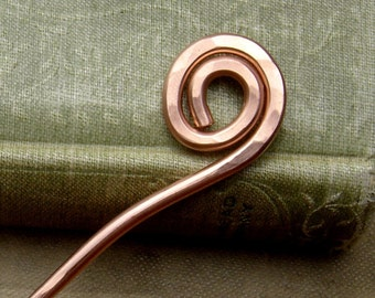 Simple Spiral Copper Hair Stick, Shawl Pin, Metal Shawl Stick, Hair Picks, Bun Holder, Knitters, Women, Long Hair Accessories Hair Pin