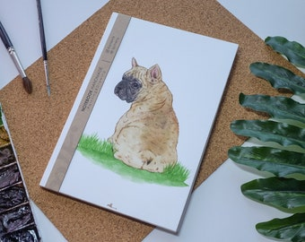 Bouledogue français aquarelle carnet de notes à la main, couverture rigide journal, Illustration, carnet, carnet de croquis, journal intime, cadeau, 21 × 14.8