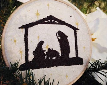Nativity Sillouette Embroidery Hoop Wall Art