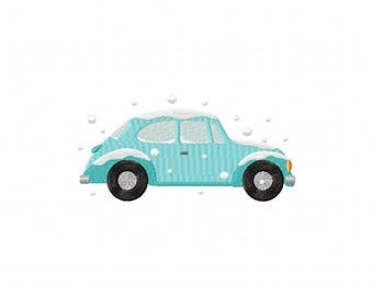 Bahama blue volkswagen beetle bug snow winter machine embroidery design