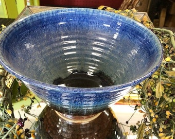 Vintage Pottery Bowl Blue Brown & Green Farmhouse Decor