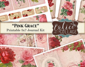 Pink Grace, Vintage Roses, Printable Journal, Junk Journal Kit, Journal Pages, Digital Paper, Vintage Flowers, Printable Ephemera