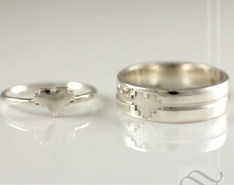 His and Hers Pixelated Heart Ring Set - Sterling Silver -Retro Gamer wedding Rings