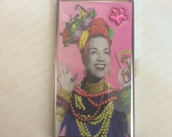 Carmen Miranda Tissue Mirror Cigarette Case Business Card Money Holder