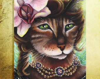 Orchid Fairy Bengal Cat Flower Cats 8x10 Fine Art Print