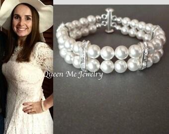 Pearl bracelet 2 Strand pearl bracelet Swarovski pearl bracelet Crystal and pearl bracelet Wedding bracelet Classic pearl Elegant