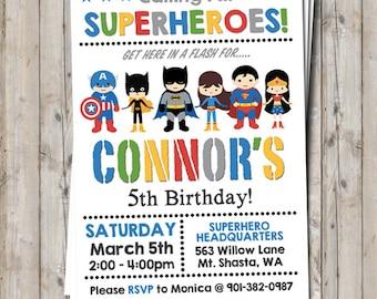 Mixed boy & girl superhero / supergirl birthday invitation personalized for your party - digital / printable DIY superhero invitation