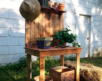 Pallet Wood Potting Bench Recycled Upcycled Plant Stand Handmade