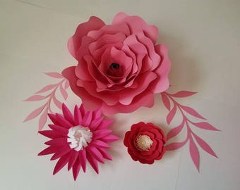 Set of 6 Paper Flowers, Baby Shower Decor, Birthday Decor, Nursery Wall Flowers, Wedding Decor