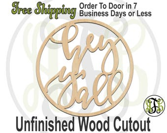 hey y'all in Circle Frame, 325055, Southern Cutout, laser cut wood cutout, Door Hanger, cut out, wooden sign, wall art