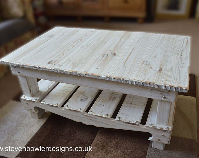 FREE UK SHIPPING Bespoke Nautical Reclaimed Wood Coffee Table Coastal White Wash Finish Matt Silver Tacks Under Shelf Storage Made to Order