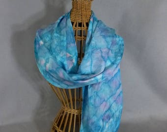 "Silk Scarf ""Turquoise and Pink"", Hand Painted  Silk Jacquard Scarf, Turquoise Silk Scarf"