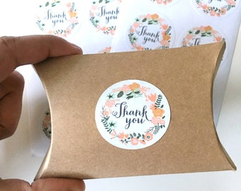 12  thank you stickers - floral thank you label - wedding favor sticker - shower favors - flowers envelope seals - gift wrapping stickers