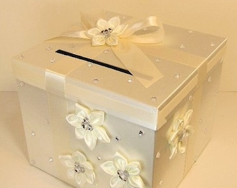 Wedding Card Box Ivory Gift Card Box Money Box Holder-Customize/made to order (10x10x9)