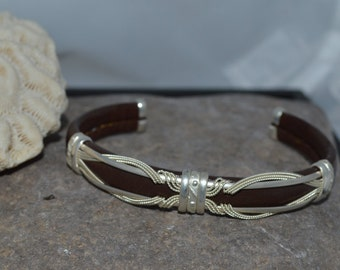 """Leather with sterling silver Cuff Bracelet """"DEAL INSIDE"""""""