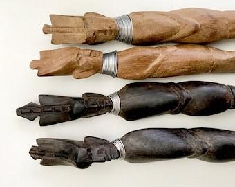 Vintage Hand Carved Wooden Serving Spoons / Tribal African Ethnic Spoon Fork Set / Carved Wood Serving Spoons