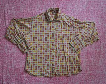 Vintage 1950s Novelty Print Blouse - Cotton Button Up Blouse