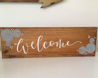 Welcome, Welcome Sign for Home, Florals, Hand Lettered, Hand Painted, Wood Sign