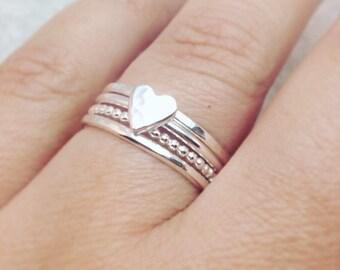 Heart Stacking Rings, Heart Ring, Ring Set, Stacking Set, Stackable Rings, Skinny Rings, Thin Rings, Minimalistic rings